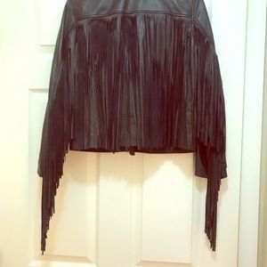SALE! Maje Fringe Leather Biker Sz 40 jacket
